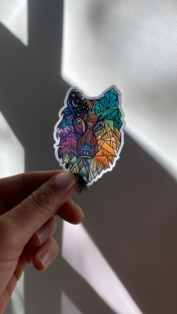 "Color Wolf Prism Magnet 3"" Weatherproof and durable, Travel magnet, Wanderlust, Mountains, Moon , Trees"