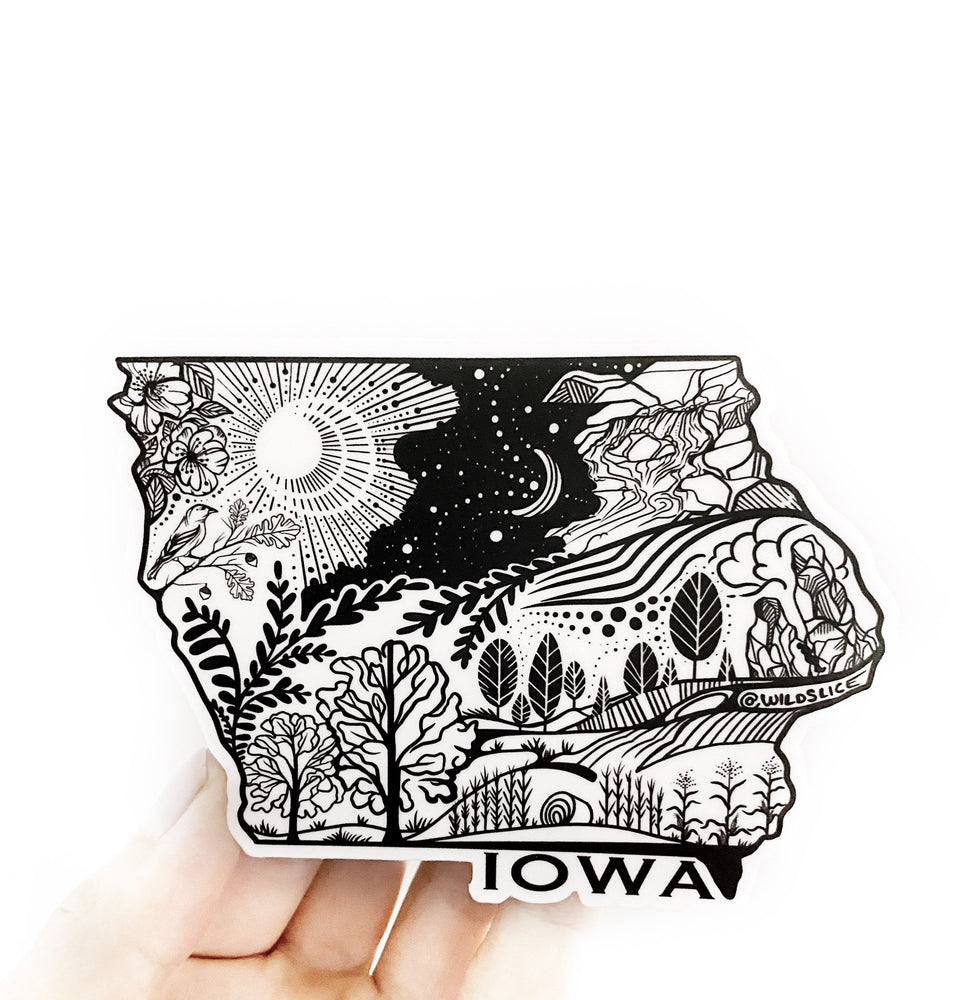 "Load image into Gallery viewer, Iowa State Sticker  4"" Weatherproof and durable,  Outdoor sticker, Travel sticker, Wanderlust, Moon , Trees"