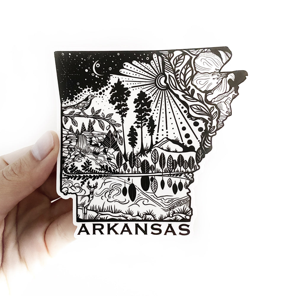 "Arkansas State Sticker  4"" Weatherproof and durable,  Outdoor sticker, Travel sticker, Wanderlust, Moon , Trees"