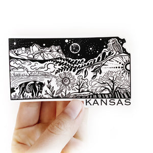 "Kansas State Sticker  4"" Weatherproof and durable,  Outdoor sticker, Travel sticker, Wanderlust, Moon , Trees"