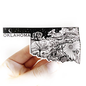 "Oklahoma State Sticker  4"" Weatherproof and durable,  Outdoor sticker, Travel sticker, Wanderlust, Moon , Trees"