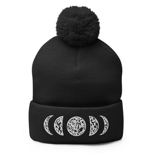 Load image into Gallery viewer, Moon Phases Pom-Pom Beanie