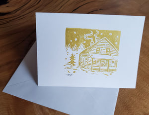 Note Cards, Cabin Linocut (Set of 3)