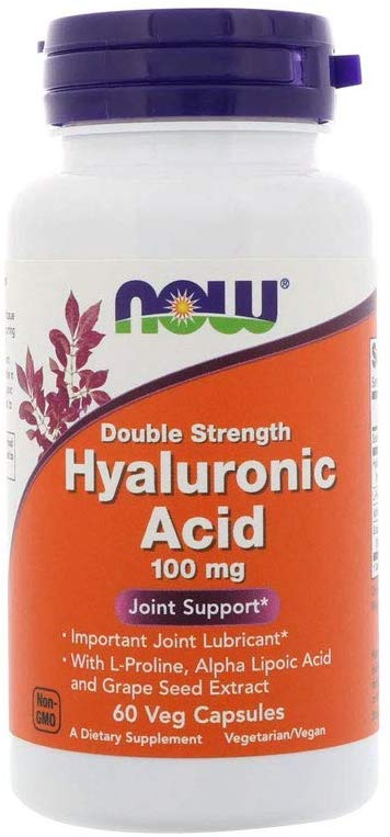 NOW Hyaluronic Acid 100mg Double Strength 60 vcpas - Supplement Xpress Online