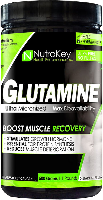 Nutrakey L-Glutamine 500g 110sv - Supplement Xpress Online