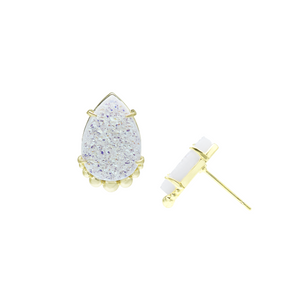 TEARDROP STUD EARRINGS-White Drusy