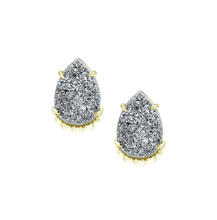 Load image into Gallery viewer, TEARDROP STUD EARRINGS-Grey Drusy