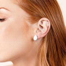 Load image into Gallery viewer, TEARDROP STUD EARRINGS-White Drusy