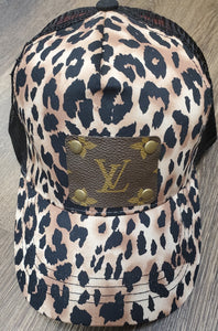 LV Patch Ball Cap-Brown Leopard