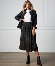 Load image into Gallery viewer, Celeste Black Dot Midi Skirt
