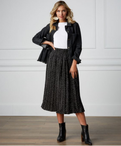 Celeste Black Dot Midi Skirt