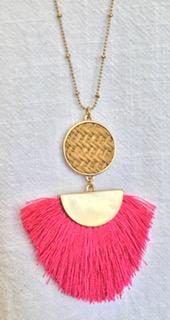 Fan Tassel & Wicker Necklace in Hot Pink and Orange