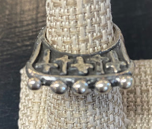 Dian Malouf Silver Cross Guard ring