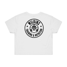 Load image into Gallery viewer, Wilkins Training & Nutrition Crop Tee - White
