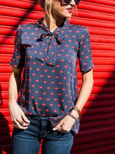 Load image into Gallery viewer, Dark Blue Lip Print Bow Front Blouse