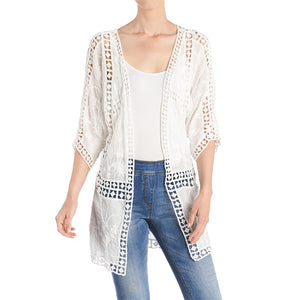 Pieced Crochet Cardigan - Black or White