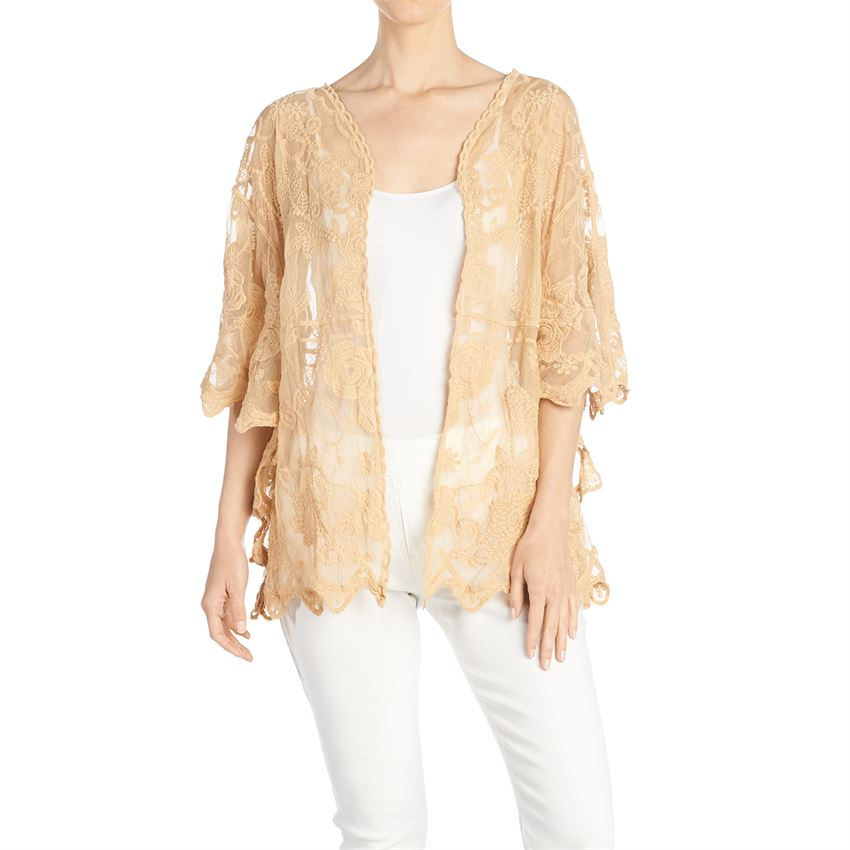 Short Lace Cardigan - Suntan