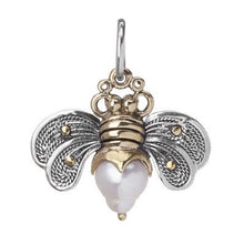 Load image into Gallery viewer, Bee Brave Pearl Honey Charm - Sterling Silver, Brass and Pale Pearl - .88""