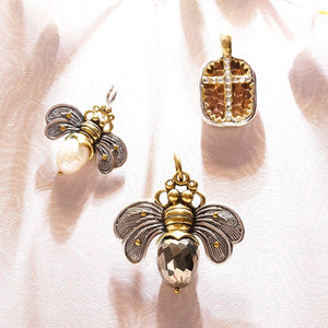 Bee Brave Pearl Honey Charm - Sterling Silver, Brass and Pale Pearl - .88""