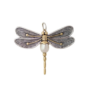 "Transformative Dragonfly Pendant with 28"" chain - Pendant is Brass, Sterling Silver, Labradorite & Swarovski Pacific Opal, Chain 28"" Sterling Silver"