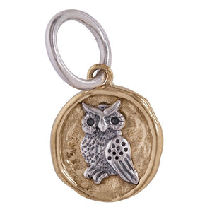 Owl Camp Charm - Brass and Sterling Silver - 1/2""