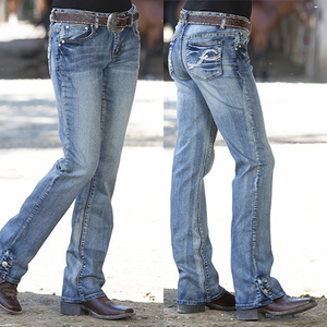 【Free Shipping】Women's Button Bootcut Washed Stretchy Jeans