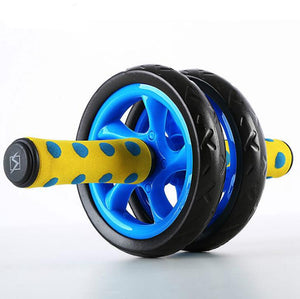 Blue double wheel ab roller side view