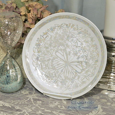 Butterfly China plate hand painted mother of pearl luster by Angela Wisler