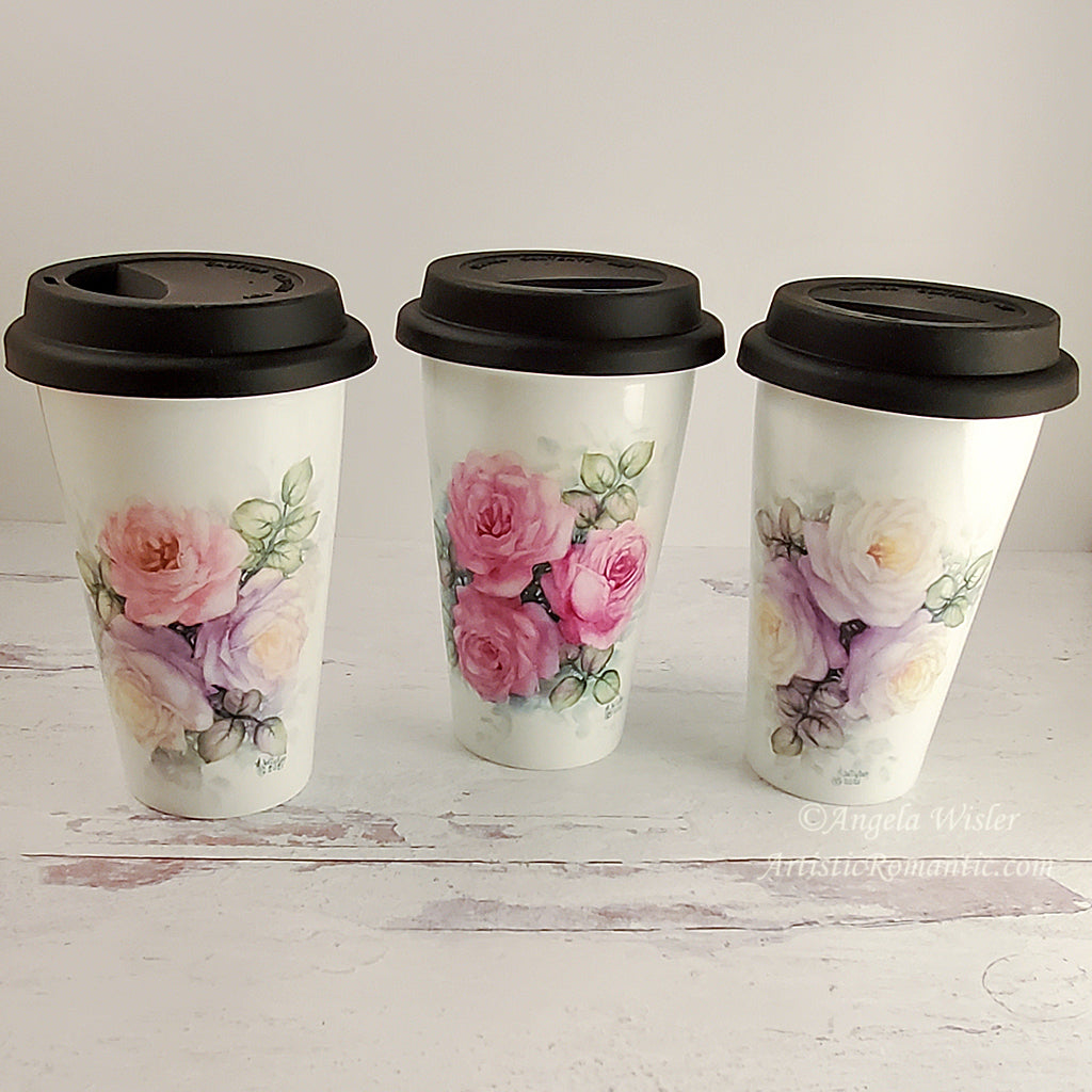 For Caryl 3 Hand Painted Roses Porcelain Insulated Travel Coffee Cups