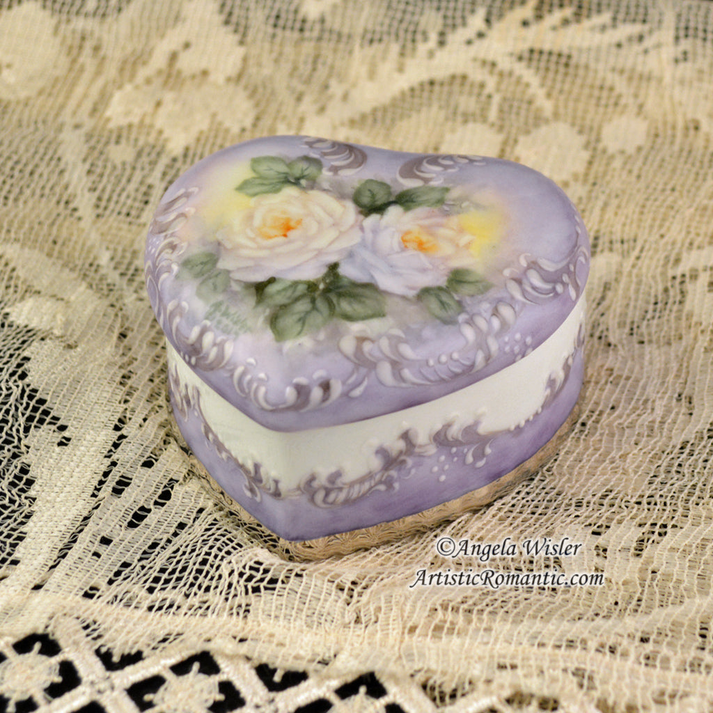 Lavender Victorian Heart Porcelain Jewelry Box Hand Painted White Roses
