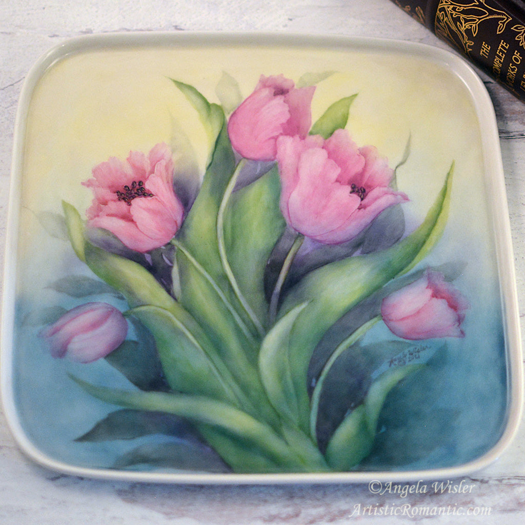 Spring Pink Tulips Bouquet Hand Painted Porcelain Tray Cottage Style Decorating