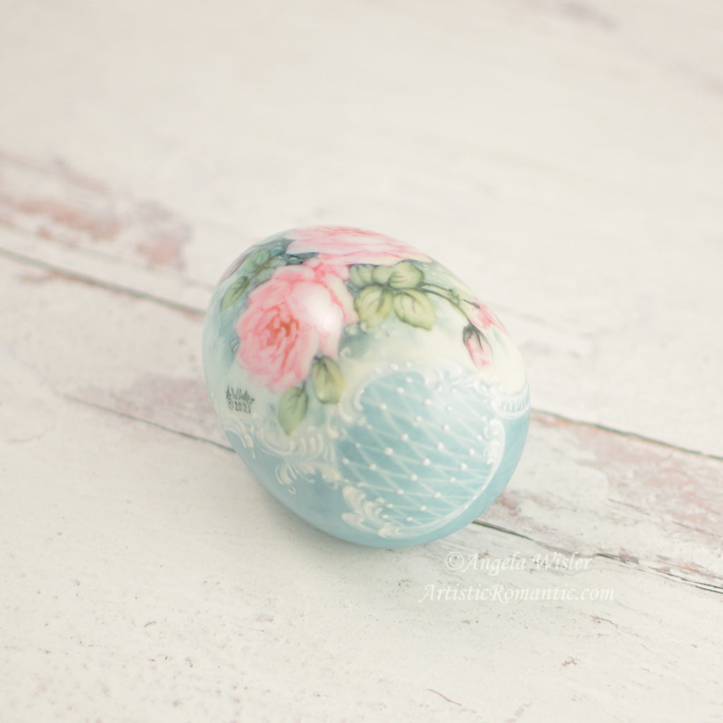Aqua Porcelain Easter Egg Hand Painted Pink Roses Cottage Style