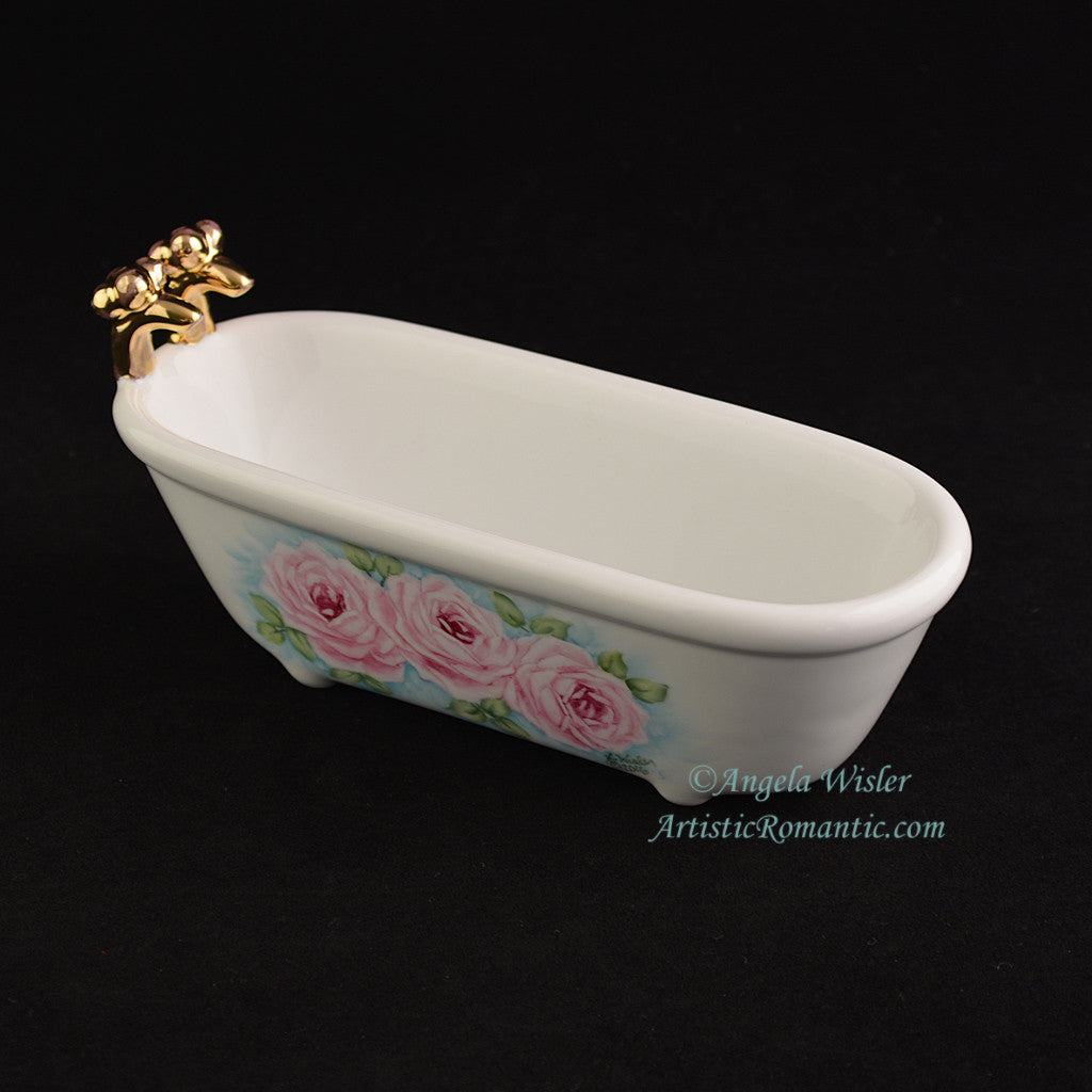 Victorian Clawfoot Bathtub Soapdish Pink Roses Hand Painted ...