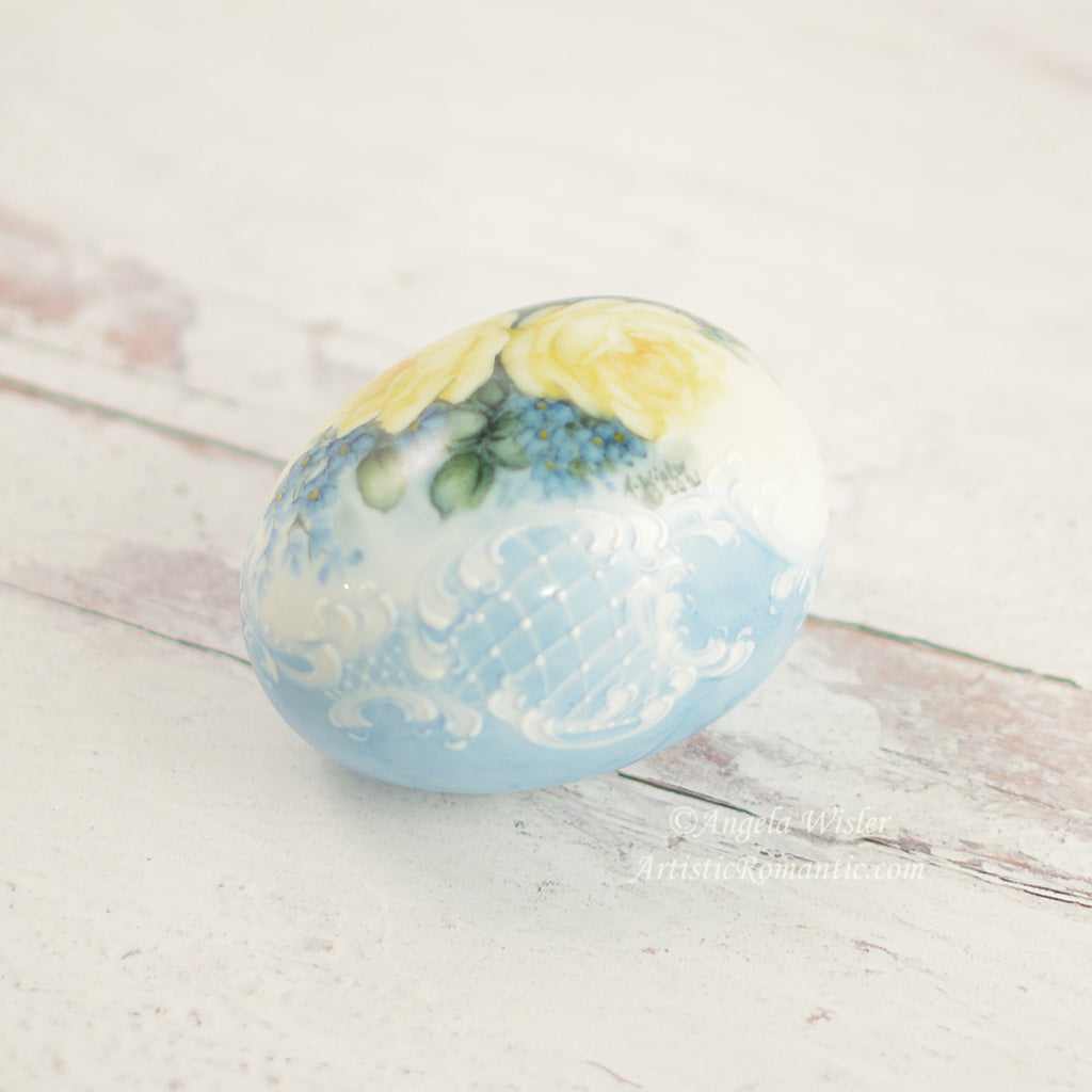 Blue Porcelain Easter Egg Hand Painted Yellow Roses Forget Me Nots