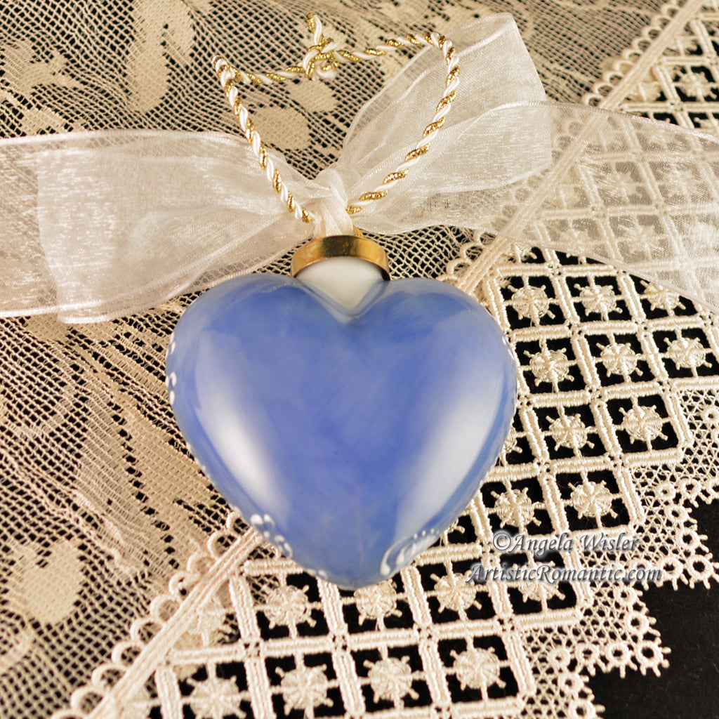 French Blue Hydrangeas Porcelain Heart Christmas Ornament China Painted
