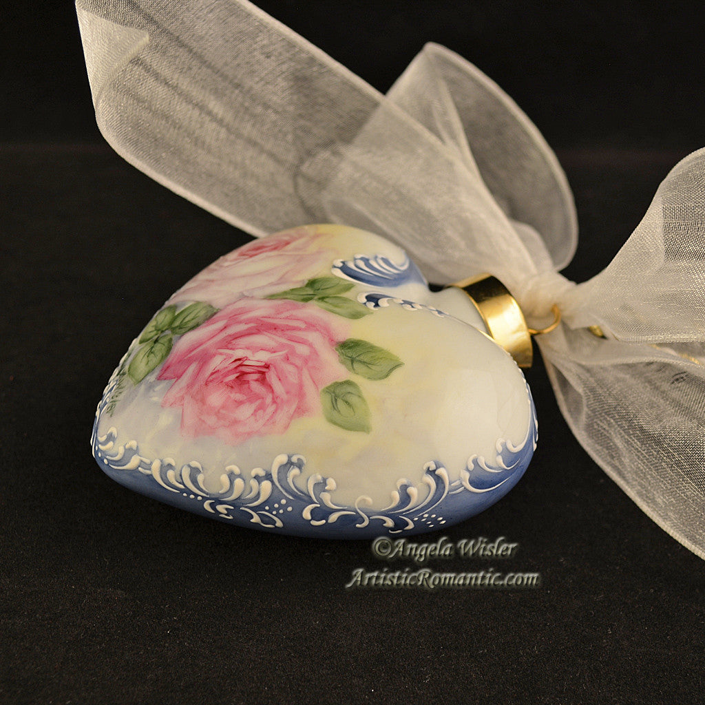 Blue Victorian Heart Porcelain Christmas Ornament China Painted Roses - Artistic Romantic  - 3