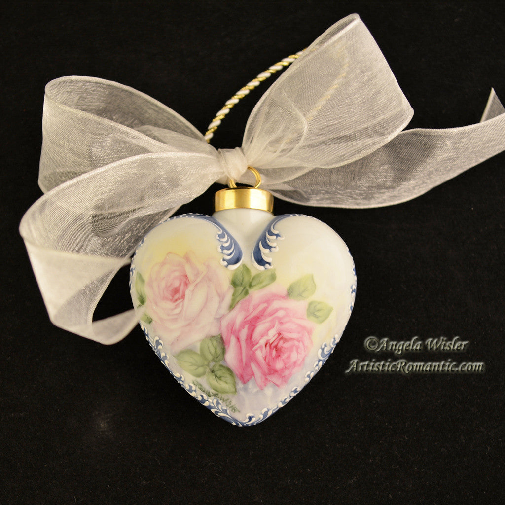 Blue Victorian Heart Porcelain Christmas Ornament China Painted Roses - Artistic Romantic  - 2