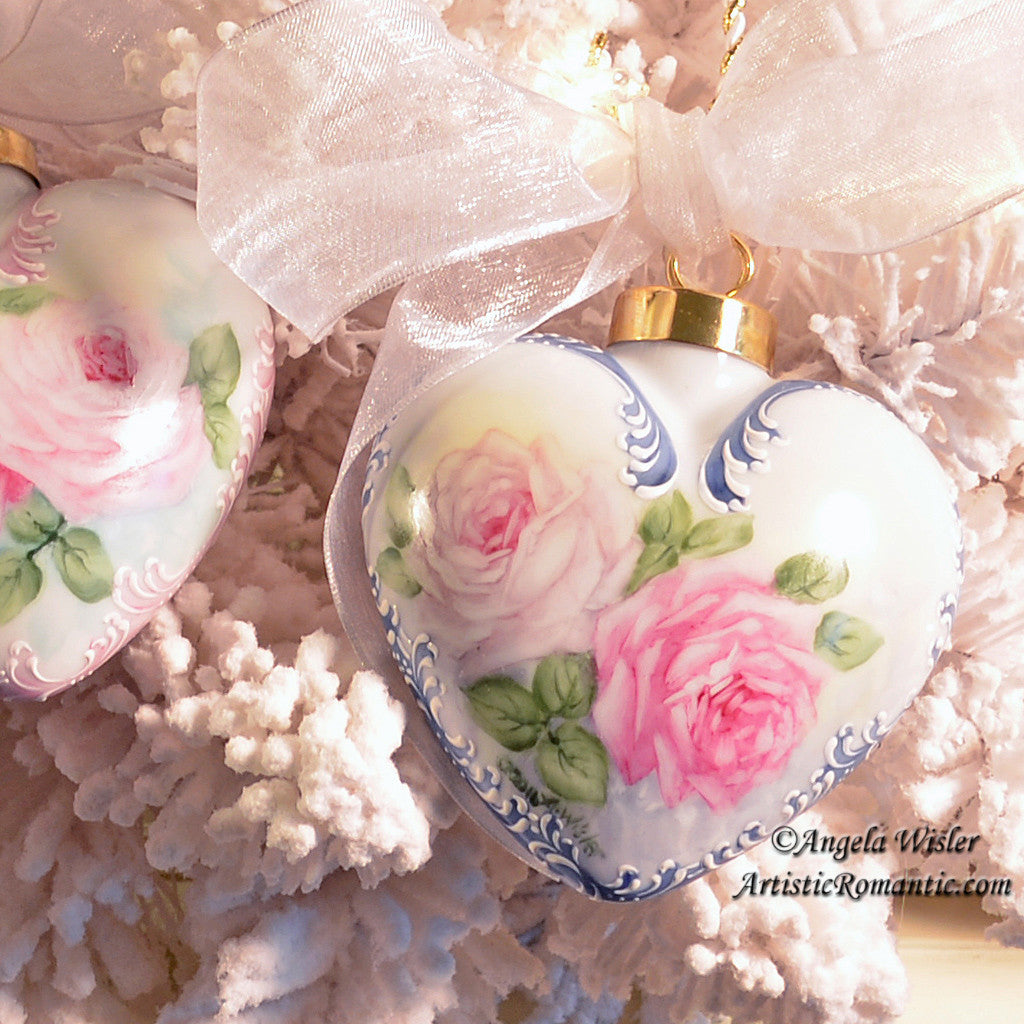 Blue Victorian Heart Porcelain Christmas Ornament China Painted Roses - Artistic Romantic  - 1