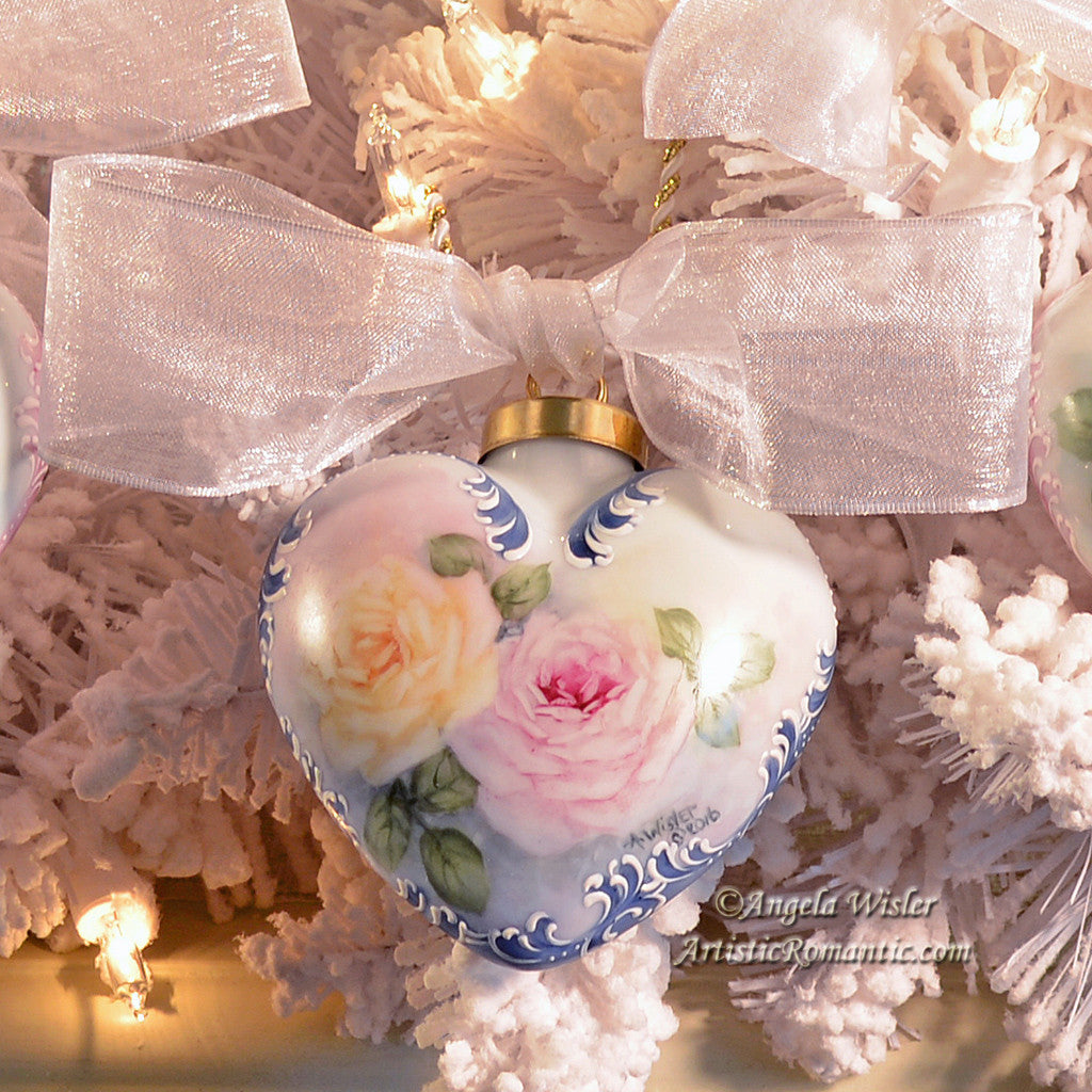Blue Porcelain Victorian Christmas Ornament Hand Painted Roses ...