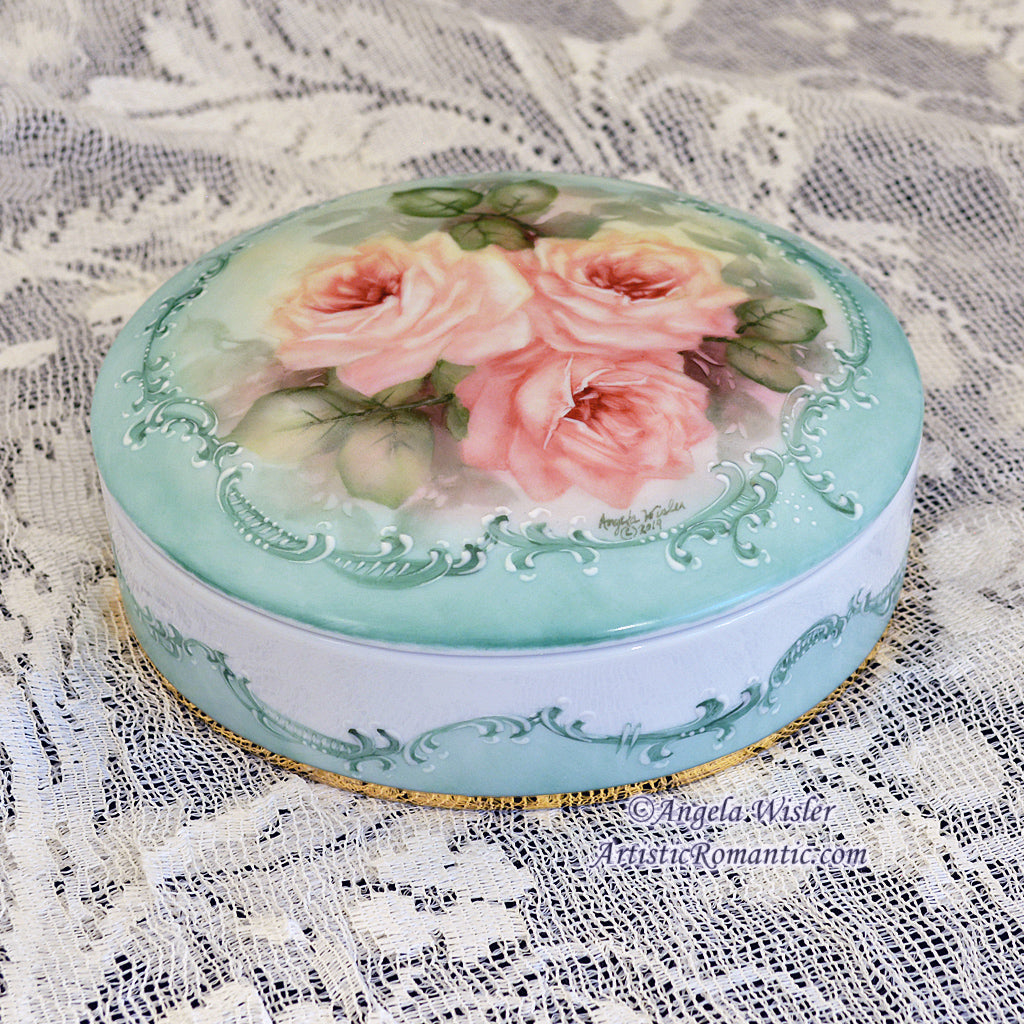 Autumn Roses Hand Painted Jewelry Wedding Box Porcelain Fall Decor