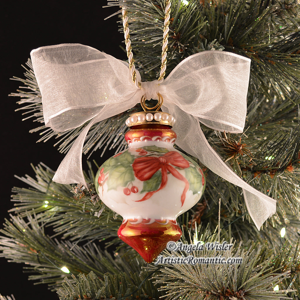 Red Traditional Keepsake Porcelain Ornament Holly Berries Hand Painted
