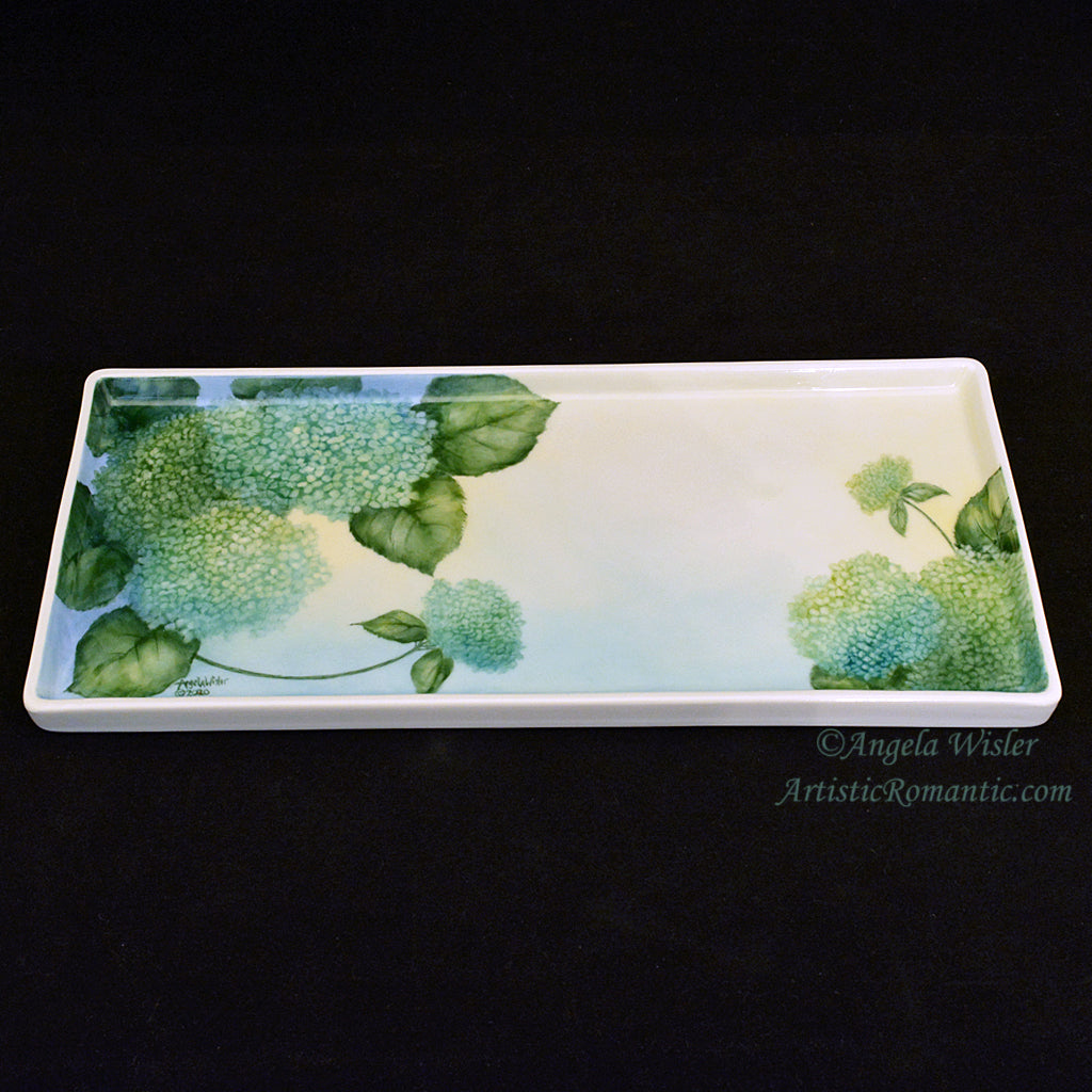 Aqua Green Hydrangeas Hand Painted Porcelain Vanity Tray Coastal Cottage Chic