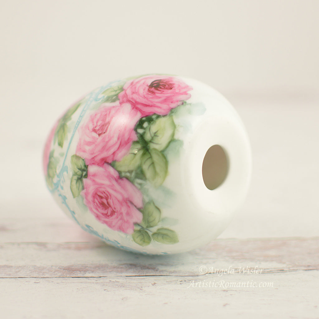 Ruby Pink Roses Large Easter Egg with Stand Hand Painted Porcelain
