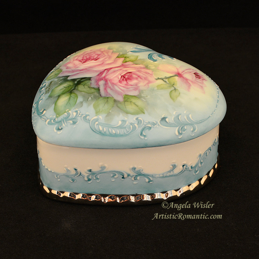 Aqua Hand Painted Porcelain Jewelry Box Pink Roses Large Heart Blue