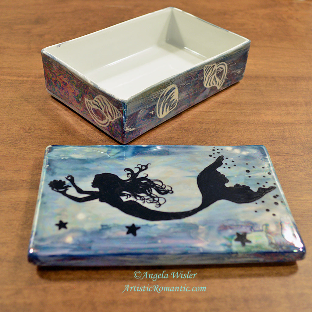 Seashells Blue Mermaid Jewelry Keepsake Porcelain Box Hand Painted Gift