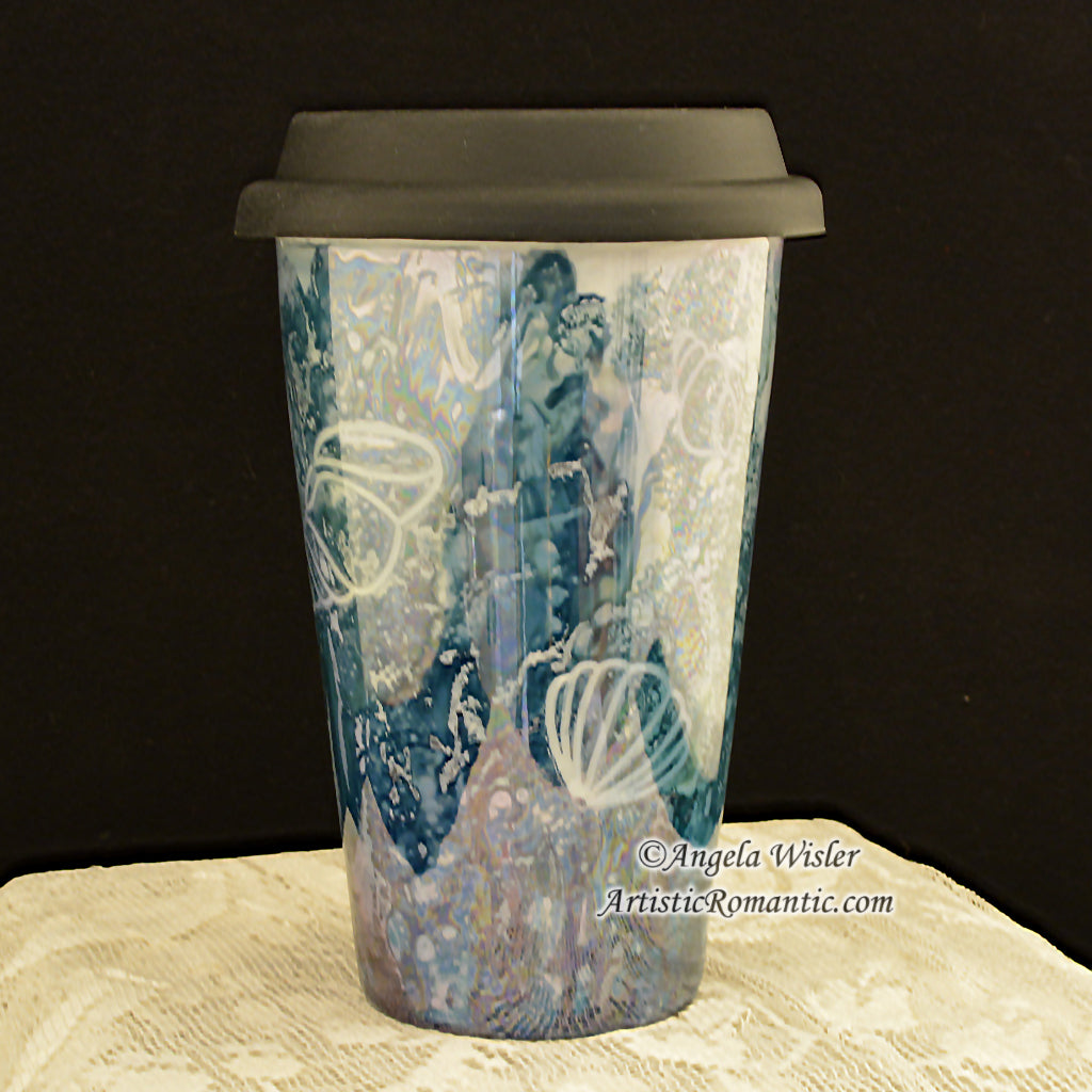 Coastal Style Mermaid Seashell Porcelain Coffee Travel Mug Hand Painted