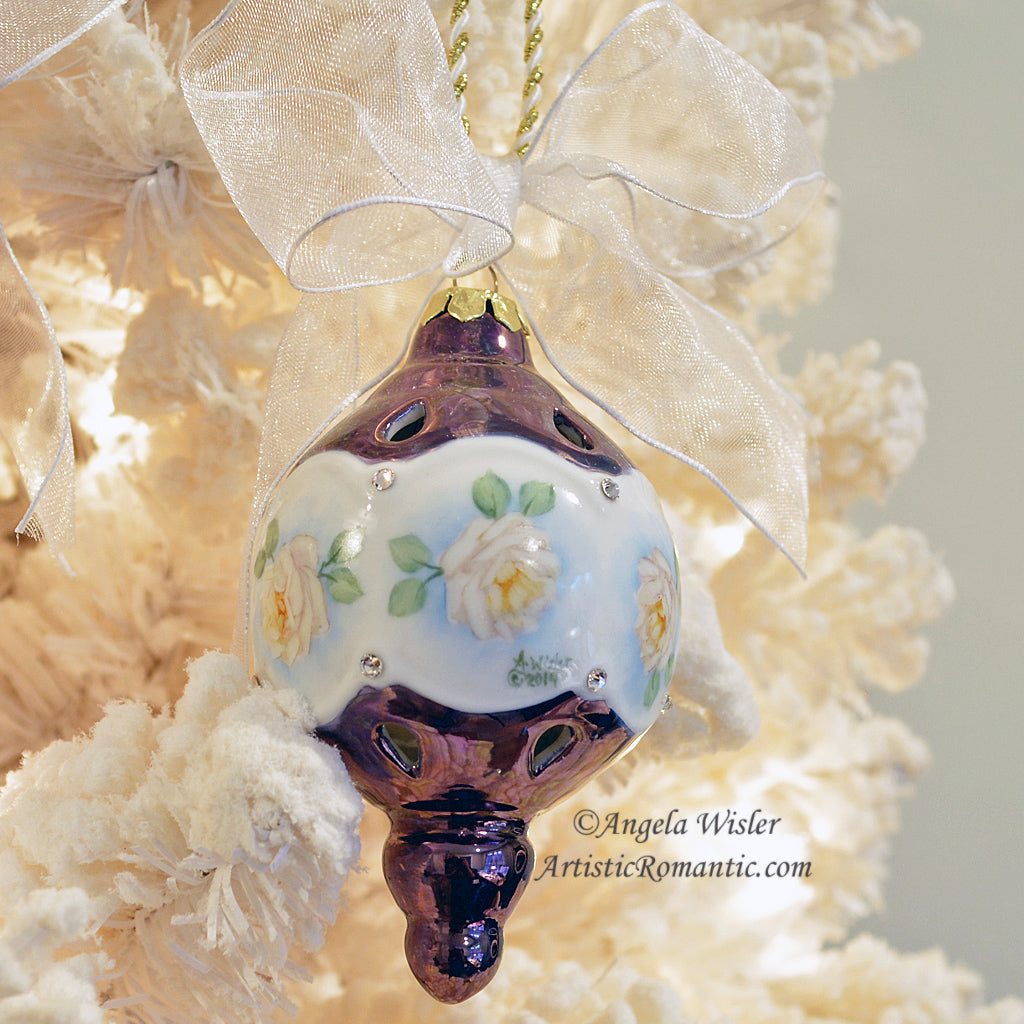 Large White Rose Victorian Christmas Ornament Hand Painted Porcelain