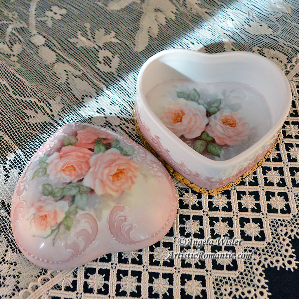 Pale Pink Roses Victorian Heart Porcelain Jewelry Box Hand Painted