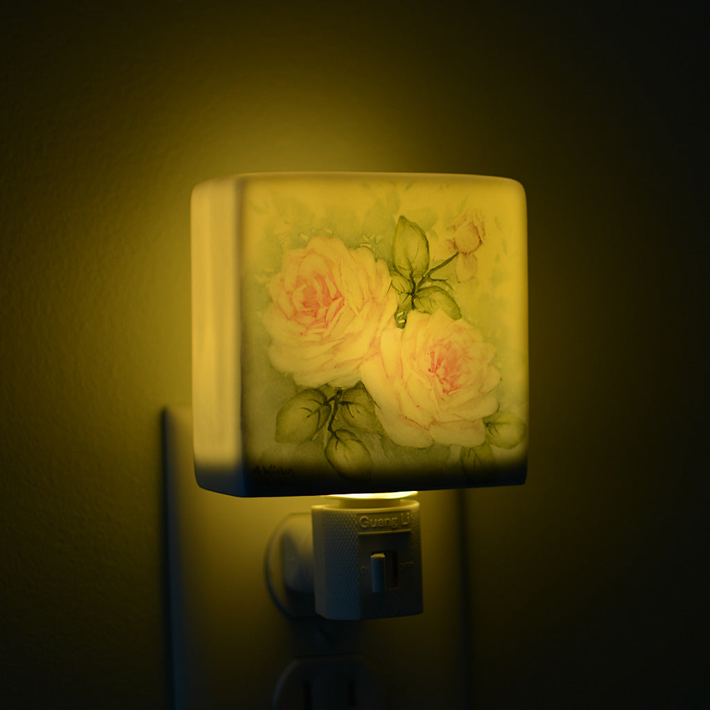 Hand Painted Pale Pink White Roses Porcelain Night Light Cottage Style