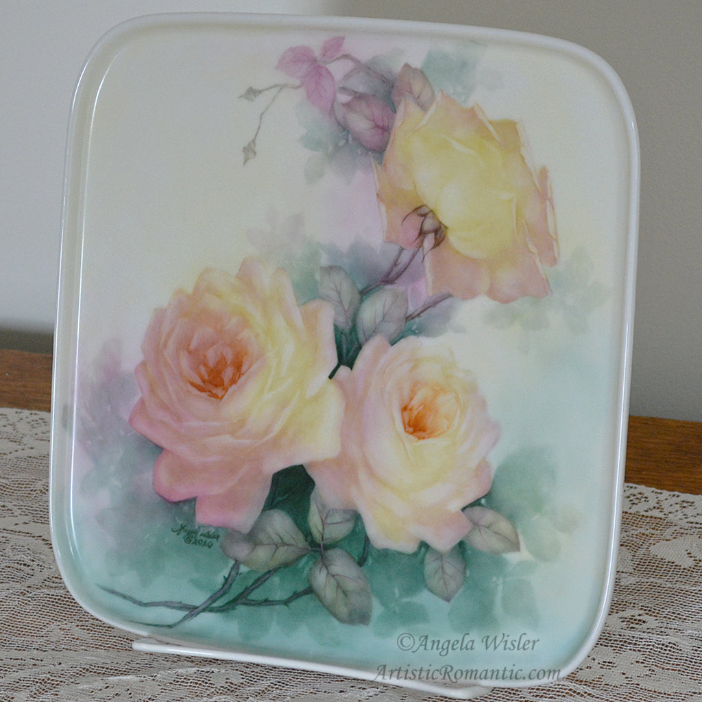 Peace Roses Hand Painted Porcelain Square Artist Signed Tray